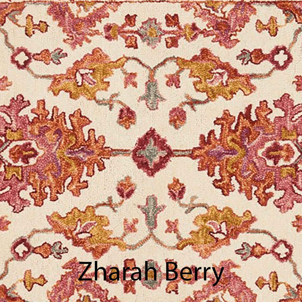 Zharah Hooked Area Rug in Berry Sample