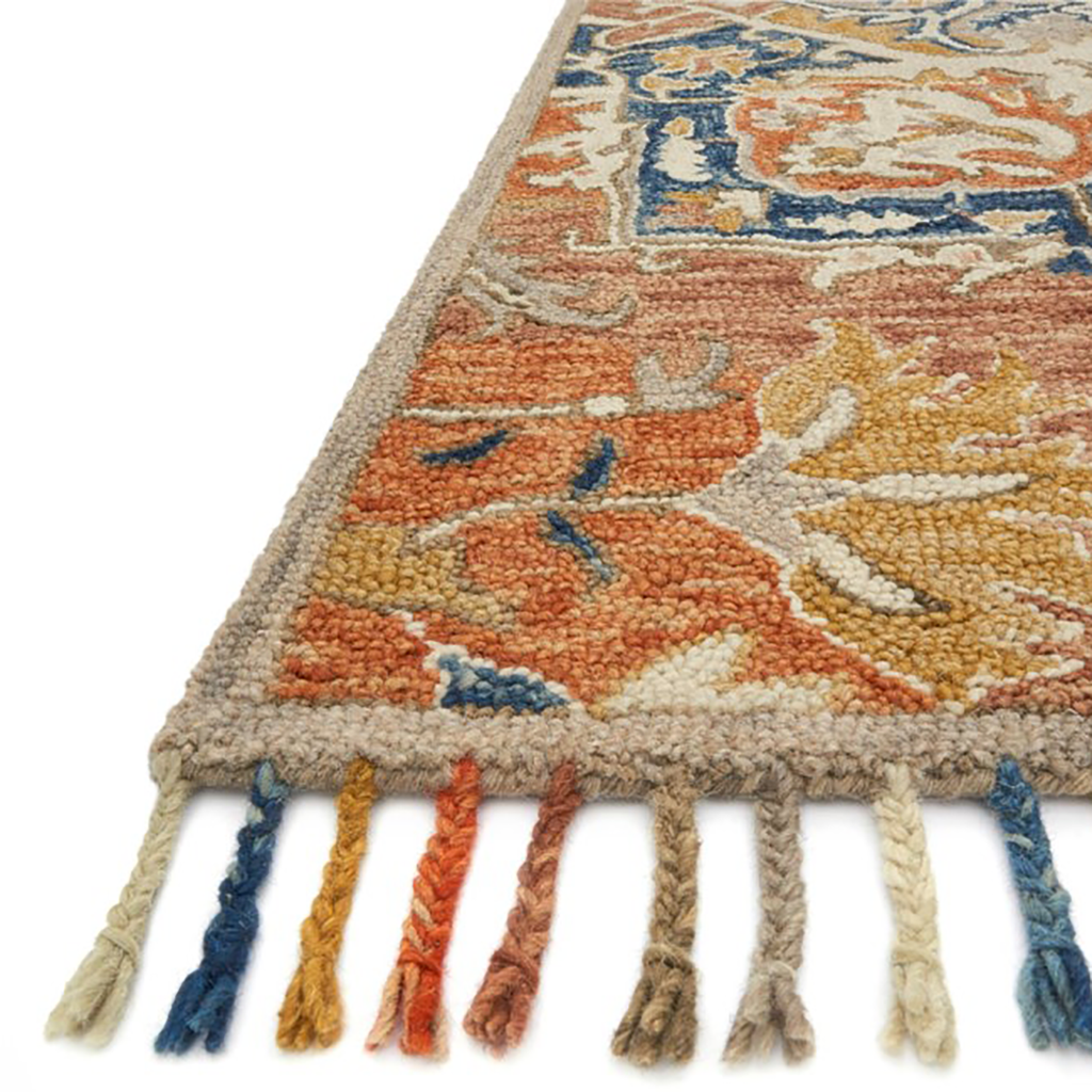 Zharah Hooked Area Rug in Rust / Blue by Loloi