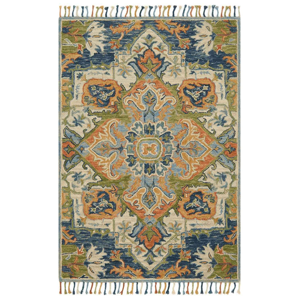 Zharah Hooked Area Rug in Blue / Multi by Loloi