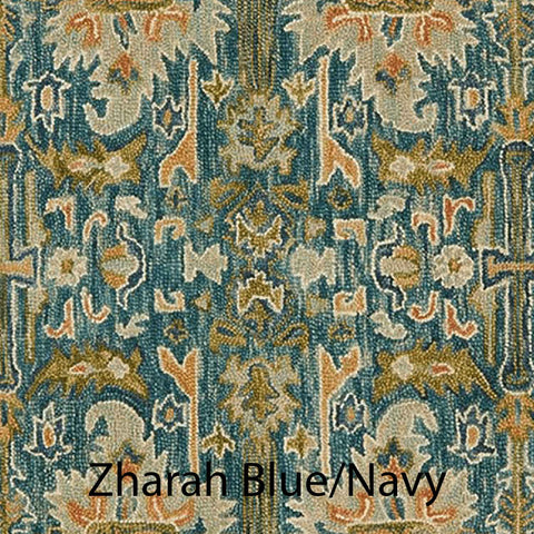 Zharah Hooked Area Rug in Blue / Navy Sample