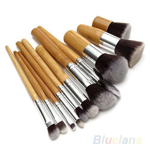 11Pcs/set  Wood Handle Makeup Make Up Cosmetic Eyeshadow Foundation Concealer Brush Set - Ashlays