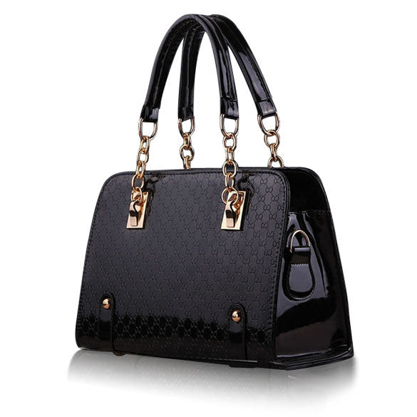Women HandbagTote Purse Black PU Leather - Ashlays