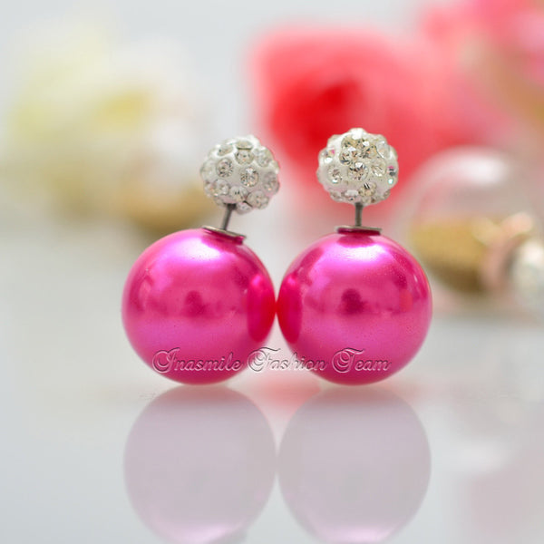 Double Pearl Earrings Candy Color Earrings - Ashlays - 9