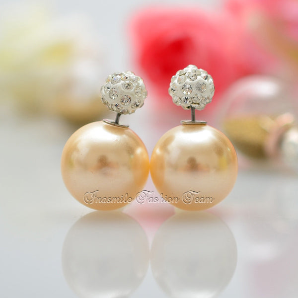 Double Pearl Earrings Candy Color Earrings - Ashlays - 15