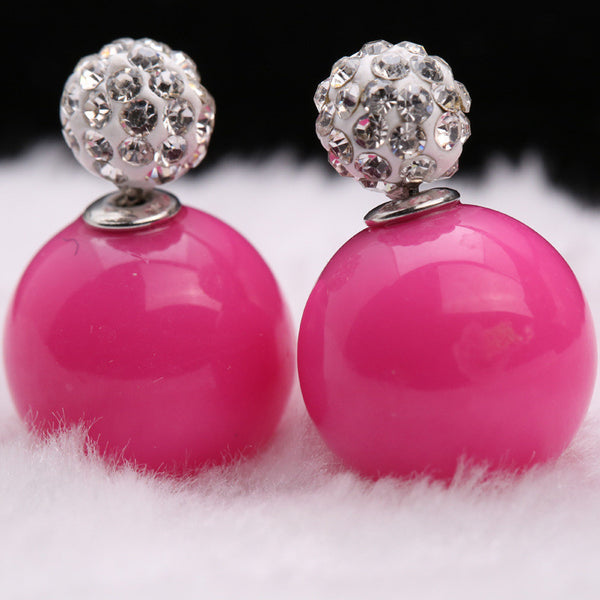 Double Pearl Earrings Candy Color Earrings - Ashlays - 14