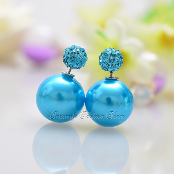Double Pearl Earrings Candy Color Earrings - Ashlays - 12