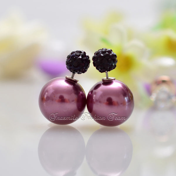 Double Pearl Earrings Candy Color Earrings - Ashlays - 11