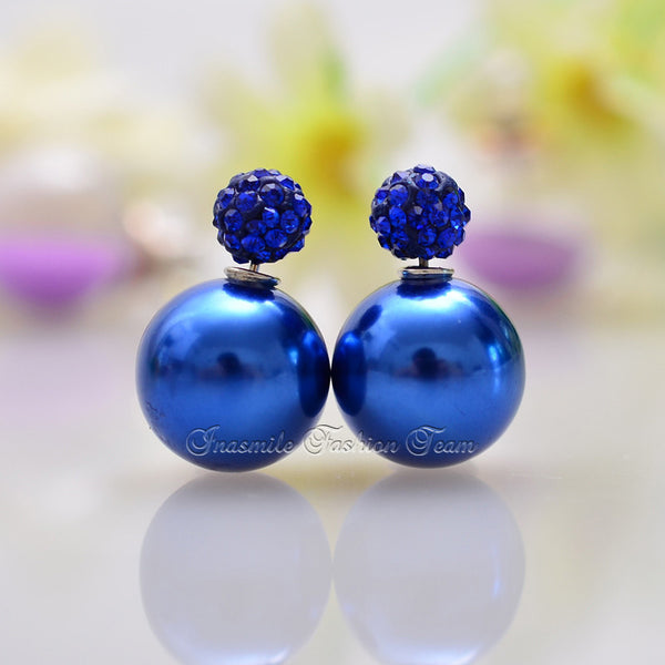 Double Pearl Earrings Candy Color Earrings - Ashlays - 10