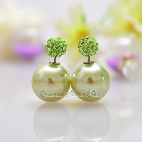 Double Pearl Earrings Candy Color Earrings - Ashlays - 8