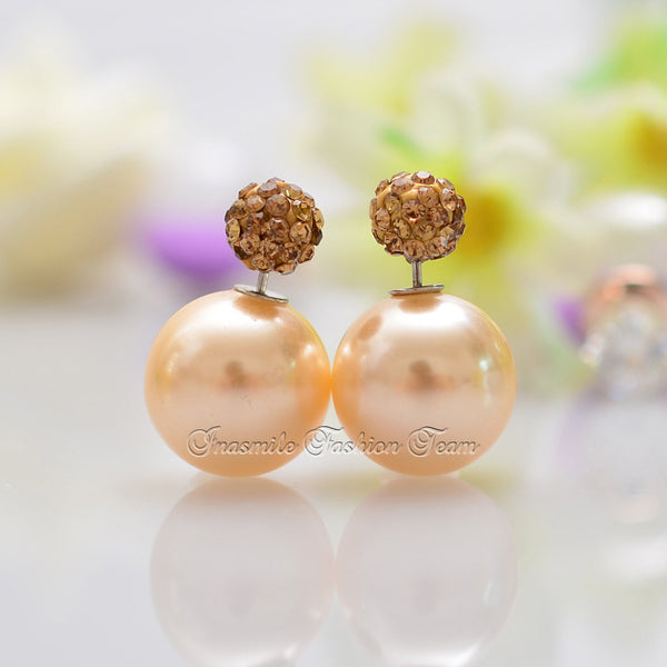 Double Pearl Earrings Candy Color Earrings - Ashlays - 3