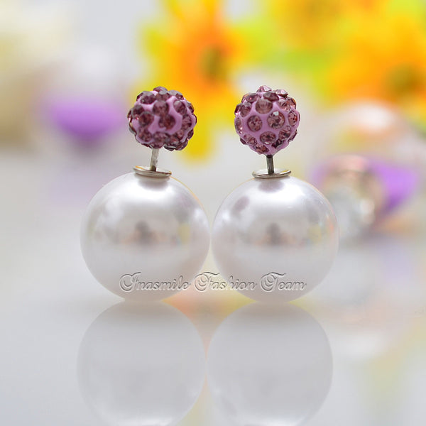 Double Pearl Earrings Candy Color Earrings - Ashlays - 5