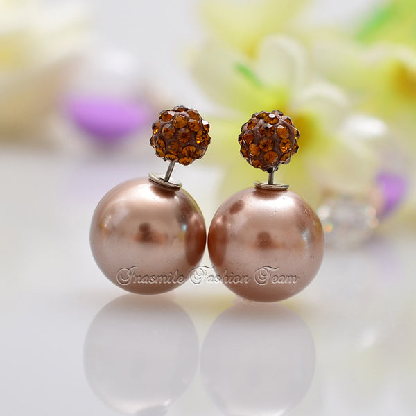 Double Pearl Earrings Candy Color Earrings - Ashlays - 6