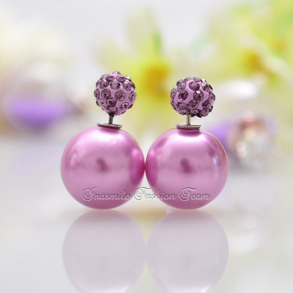 Double Pearl Earrings Candy Color Earrings - Ashlays - 2