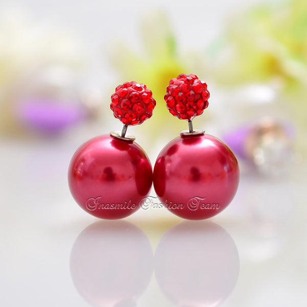 Double Pearl Earrings Candy Color Earrings - Ashlays - 4