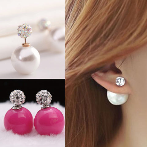 Double Pearl Earrings Candy Color Earrings - Ashlays - 1