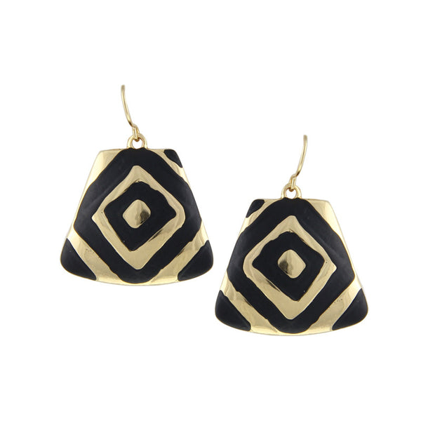 Black Enameling Gold/Silver Plated Rock Drop Earrings - Ashlays - 1