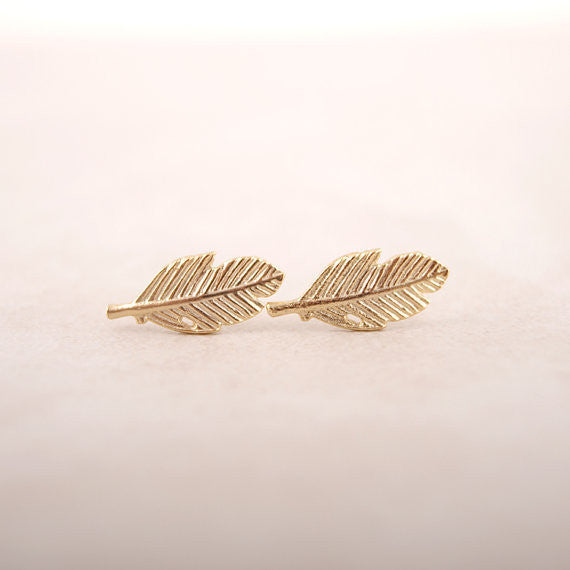 Vintage Jewelry 18K Gold Plated Leaf Earrings - Ashlays