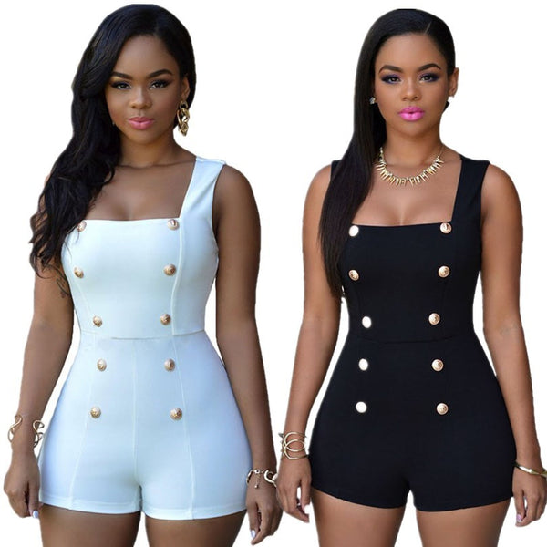 Women Sexy Black Rompers Short Jumpsuits White Bodysuits Monos Womens Overalls Bodycon Playsuits Ladies One Piece Romper - Ashlays - 1