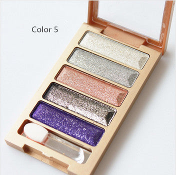 5 Color Waterproof Eyeshadow Makeup Eye Shadow Palette,Super Flash Diamond Eyeshadow High Quality With Brush - Ashlays - 4
