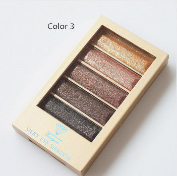 5 Color Waterproof Eyeshadow Makeup Eye Shadow Palette,Super Flash Diamond Eyeshadow High Quality With Brush - Ashlays - 2