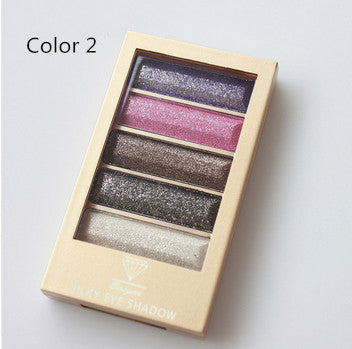 5 Color Waterproof Eyeshadow Makeup Eye Shadow Palette,Super Flash Diamond Eyeshadow High Quality With Brush - Ashlays - 7