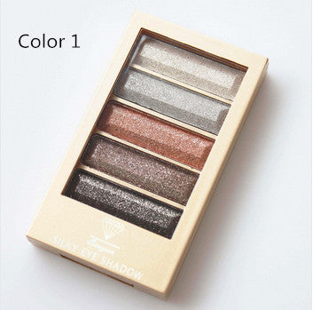 5 Color Waterproof Eyeshadow Makeup Eye Shadow Palette,Super Flash Diamond Eyeshadow High Quality With Brush - Ashlays - 5