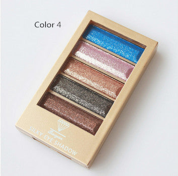 5 Color Waterproof Eyeshadow Makeup Eye Shadow Palette,Super Flash Diamond Eyeshadow High Quality With Brush - Ashlays - 3