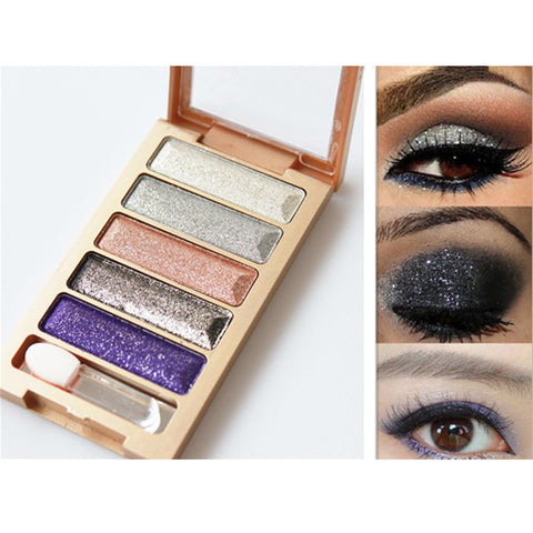 5 Color Waterproof Eyeshadow Makeup Eye Shadow Palette,Super Flash Diamond Eyeshadow High Quality With Brush - Ashlays - 1