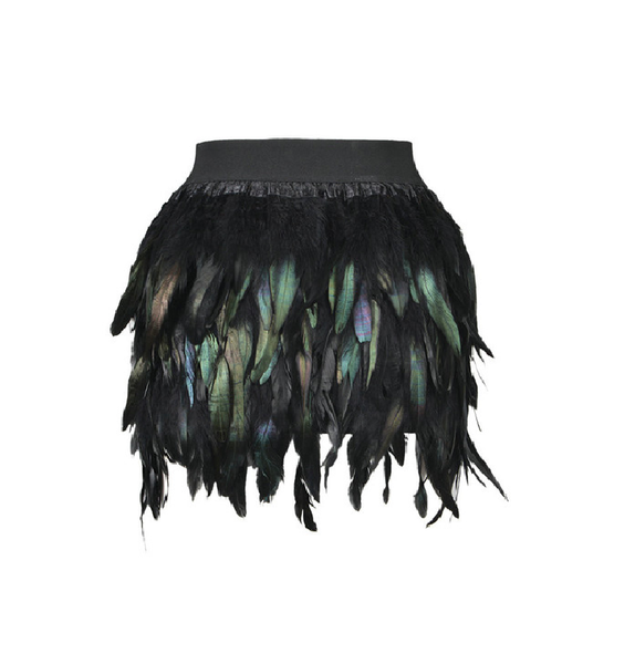 Feather Mini Skirt Elastic Waist - Ashlays - 1