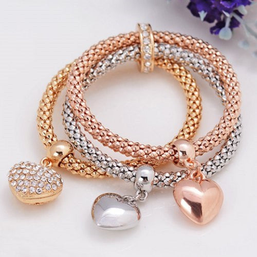 Rhinestone Heart Layered Women's Bracelet - Ashlays
