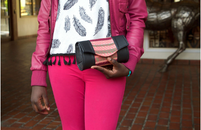 Pink Kente Cloth and Faux Leather Clutch Purse - Ashlays - 2