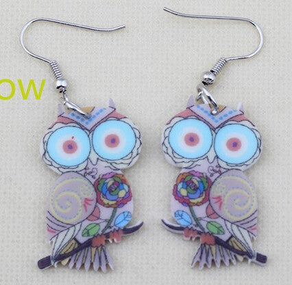 Cute Owl Drop Earrings Acrylic Style Fashion Jewelry - Ashlays - 6
