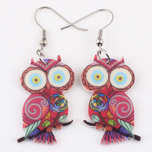 Cute Owl Drop Earrings Acrylic Style Fashion Jewelry - Ashlays - 4