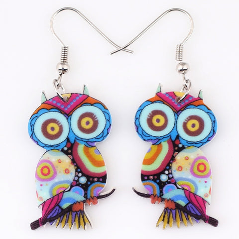 Cute Owl Drop Earrings Acrylic Style Fashion Jewelry - Ashlays - 1