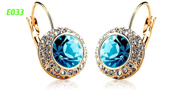 Round Earrings Stud 18K Gold Plated With Austrian Full Crystal Earrings - Ashlays - 15