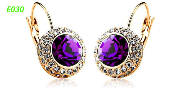 Round Earrings Stud 18K Gold Plated With Austrian Full Crystal Earrings - Ashlays - 9