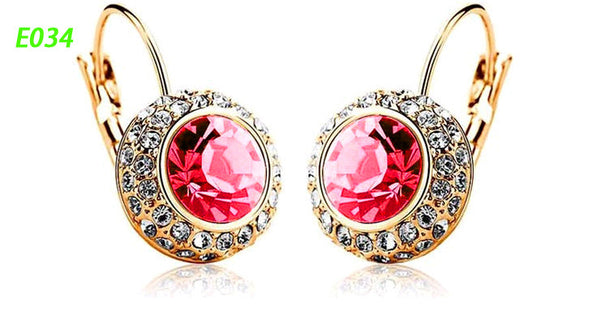 Round Earrings Stud 18K Gold Plated With Austrian Full Crystal Earrings - Ashlays - 8