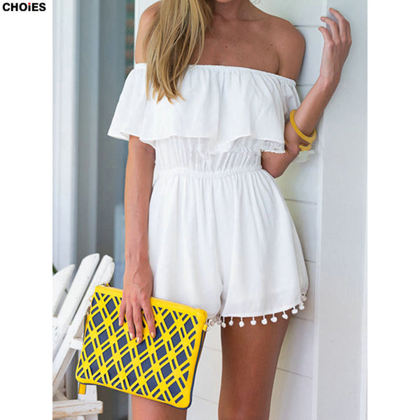 Summer Style Women Romper Off The Shoulder Jumpsuit Elastic Waist Ruffles in Black/White - Ashlays - 3