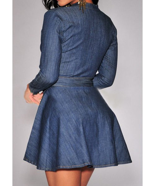 Long Sleeve Denim Women's Dress - Ashlays - 2