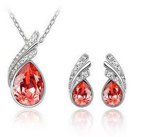 Crystal Water Drop Leaves Jewelry Sets - Ashlays - 5