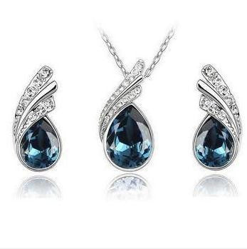 Crystal Water Drop Leaves Jewelry Sets - Ashlays - 10