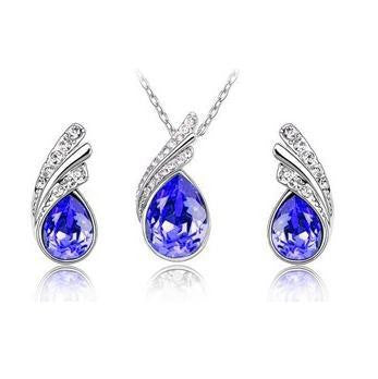 Crystal Water Drop Leaves Jewelry Sets - Ashlays - 8