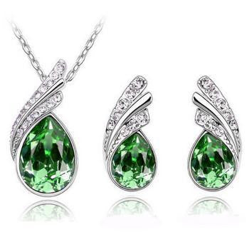 Crystal Water Drop Leaves Jewelry Sets - Ashlays - 6