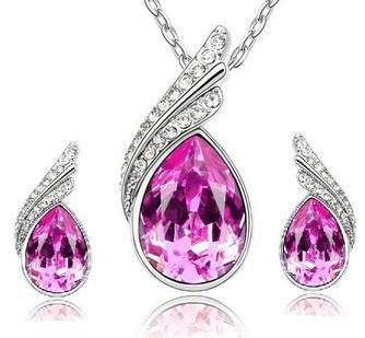 Crystal Water Drop Leaves Jewelry Sets - Ashlays - 9