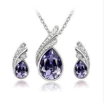 Crystal Water Drop Leaves Jewelry Sets - Ashlays - 4