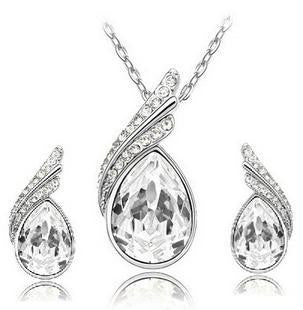 Crystal Water Drop Leaves Jewelry Sets - Ashlays - 7