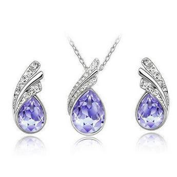 Crystal Water Drop Leaves Jewelry Sets - Ashlays - 2