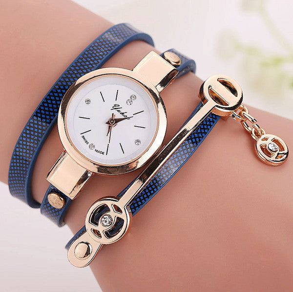 Women Leather Bracelet Watch Gold Case Quartz Watch - Ashlays - 6