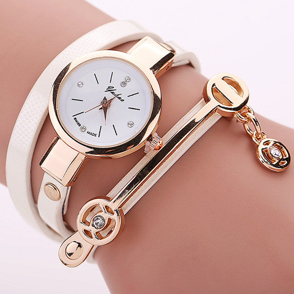 Women Leather Bracelet Watch Gold Case Quartz Watch - Ashlays - 9