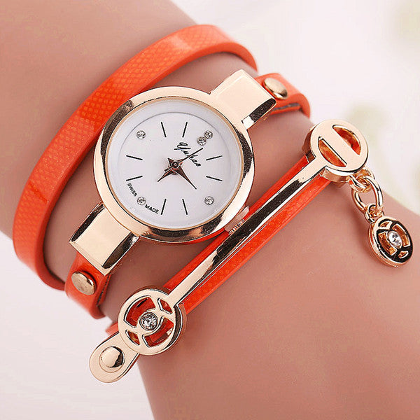 Women Leather Bracelet Watch Gold Case Quartz Watch - Ashlays - 5